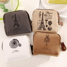 Unisex Ladies Retro Paris Cheapest Canvas Small Zip Change Coin Purse Key Car Pouch Little Money Bag Girl's Mini Coin Wallet(China)