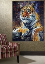 100%  Hand Painted Wild Animal Siberian Tiger Oil Painting on Canvas Mural Art for Living Room Bedroom  Wall Decoration