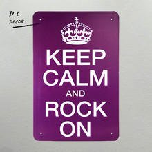 DL-Keep Calm and Rock On Retro metal Aluminium Sign rum Christmas Gift modern wall art(China)
