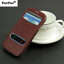 YueTuo luxury original coque case for samsung galaxy s3 s 3 i9300 by pu leather holster view phone flip window retro stand cover(China)