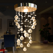 New Crystal LED Crystal Light Ceiling aisle lights entrance foyer chandelier hanging wire ball lamp small staircase lights