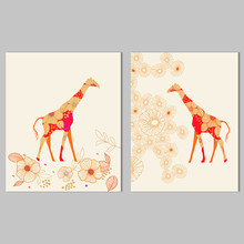 Cartoon Animal giraffe Orange Picture decoration Canvas Painting wall Art Graffiti children kids room printed decor unframed