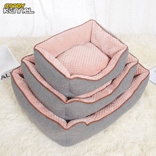 CANDY KENNEL Cotton Linen Corn Kernels Soft Pet Dog Cat Bed for Small Medium Bed House Cushion With Removable Pet Mat Nest D1129(China)