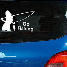 (50pieces/lot) Wholesale belle go fishing  Vinyl Car Window Decals Graphics Sticker Car-styling