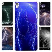 flash of lightning pattern Clear Cover Case for Sony Xperia Z1 Z2 Z3 Z4 Z5 M4 Aqua M5 XA XZ C4 E5 l36h