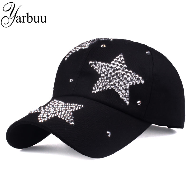 [YARBUU] new brand baseball caps high quality Rhinestone cap with three stars Snapback Casquette hat for women Lady solid color(China)