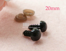 doll findings plastic 20mm full black color eyes for plush Toy eyes with washers/#(China)