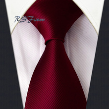 Free Shipping Solid Claret-red 100% Silk New Mens Tie Jacquard Woven Classic Necktie Wedding(China)