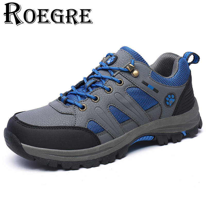 ROEGRE Brand New Fashion Spring Autumn Mens Outdoor Trainers Shoes Men Fashion Casual Lace Up Breathable Shoes Plus Size 45 Grey<br>