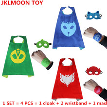 4Pcs/Set Pj Cartoon Mask Hero cloak Cape and Mask Owlette Catboy Gecko Cosplay Action Toys For Children