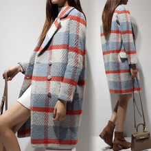 2017 Winter Coat Women Warm Cotton-padded Wool Coat Long Women's Woolen Overcoat Fashion Plaid Double Breasted Jacket Outwear