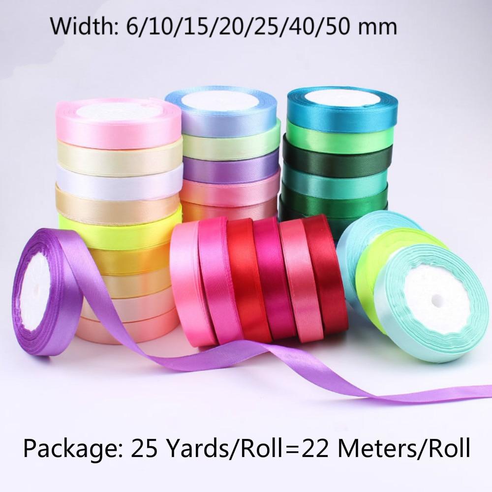 25yards 6 to 50mm Width Satin Ribbon Roll Bow Wedding Party DIY Craft Decoration