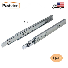 "Probrico 1 Pair 16"" Soft Close Ball Bearing Drawer Rail Heavy Duty Rear/Side Mount Kitchen Furniture Drawer Slide DSHH32-16A(China)"