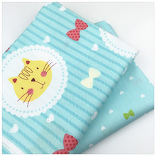 Cartoon Blue Cat Print 100% Twill Cotton Fabric For Baby The Cloth Home Textile DIY Sewing Material Telas to Patchwork