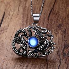 Chinese Feature Mens Necklaces Stainless Steel Dragon and Phoenix Pendant Necklace Men Vintage Punk Bike Jewelry Accessories
