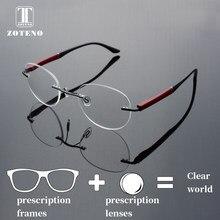 Rimless prescripción gafas hombres moda marca diseñador de ordenador miopía  lente transparente óptica prescripción gafas  88015 dd2db3c48bba