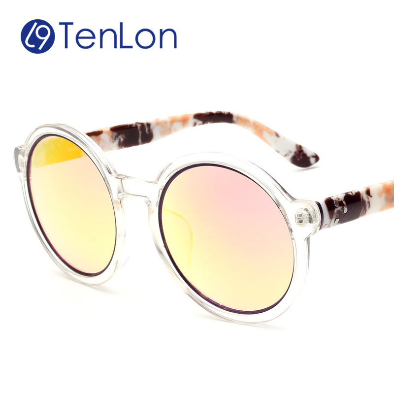 TenLon Glasses Brand Print Leg Clear Frame Wrap Round men Sunglasses Summer oculos de sol mens glasses with anti UV400<br><br>Aliexpress