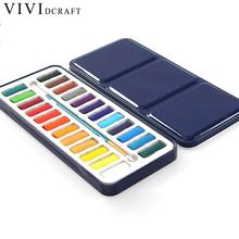 Vividcraft Solid Watercolor Marker 12/18/24 Colors/Sets Non-toxic Drawing Painting Touch Marker Stylo for Kids Tin Packing