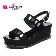 Universe thick sole wedge heel women sandals fashion suede leather sandals for girls G178(China)