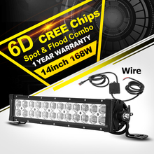 "Oslamp 14"" 6D LED Light Bar 168W CREE Chips Offroad Led Work Light Bar Combo Beam Driving Lamp for Truck ATV SUV 4WD 4x4 12v 24v"