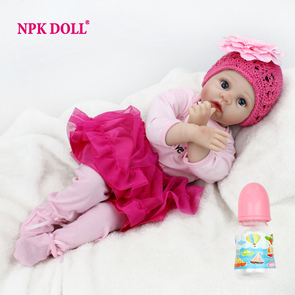 "NPKDOLL 22"" 55 cm Handmade Doll Reborn Lifelike Soft Silicone Reborn Baby Dolls For Girls Kids Birthday Gifts Russia Delivery(China)"