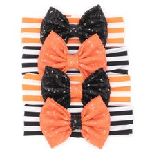 "12pcs/lot Chic European Halloween Festival Headband Black/Orange DIY 5"" Sequins Bow Hair Accessories New Arrival"