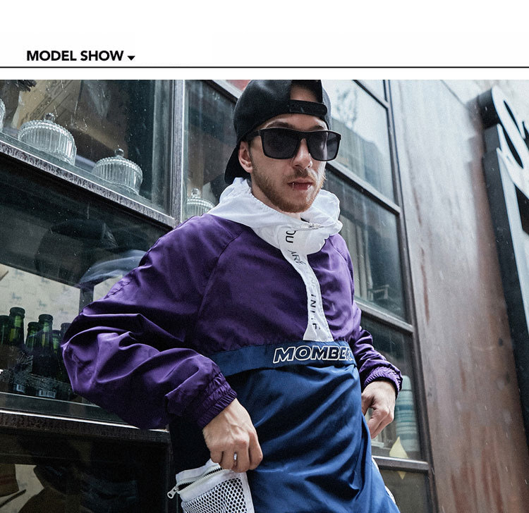 Aolamegs Jackets Men Patchwork Hit Color Couple Thin Pullover Jacket High Street Tracksuit Fashion Coats Male Streetwear Autumn (5)