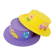 1PCS Cute EVA Sewing Hat Puzzle Toy Handmade Kids Handcraft Sun Cap DIY Hat Educational Craft Toy Kits Random Type Color