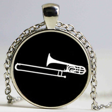 2017 newest musical instrument silhouette necklace Trombone pendant dj mixer musician jewelry jazz music band fans gift HZ1(China)