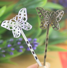 SEA MEW 30*20mm Butterfly Barrettes Base Settings 6 Colors Plated Vintage Hair Pin Blank Setting 20 PCS