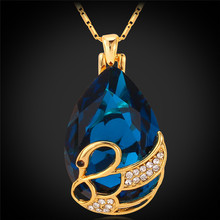 Blue/Red Swan Pendant Necklace Gold Color Fashion Austrian Rhinestone Statement Women Necklace Synthetic Jewelry P489(China)