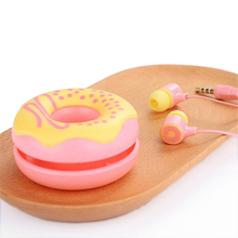 Candy Color Donut Earphone 3.5mm wired girls kids Headphone with Microphone and case for Samsung Sony iPhone iPad Mp3