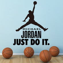 Good quality new Art Design home decor basketball Michael Vinyl Wall decals removable NBA sports Jordan cheap room sticker