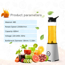 600ml Fruit Blender Food Processor Juicer Personal Size Blender Handy Portable Chargeable Electric Juice Cup Mini Juice Maker(China)