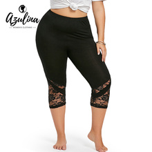 Buy AZULINA Plus Size Lace Trim Capri Leggings Women Sexy Fitness Legging Women Workout Leggings Push Leggings Big Size 5XL 2018 for $10.69 in AliExpress store