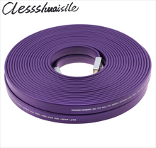 Exclusive Purple Standard HDMI 2.0 Flat Long Certified Cable Wire Male To Male 15m 20m 4K*2K 3D Ethernet 15 20 meters ,By DHL(China)
