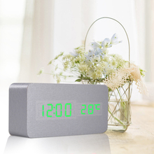 Digital Clock Sound Control Desk Table Bedside DC5V/500MA Alarm Clock With USB Cable and User Manual Red/ Green/White
