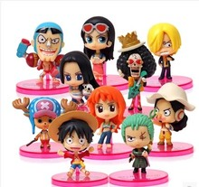 Wholesale/Retail 10pcs/set Anime One Piece Luffy Ace Mihawk Zoro Mini PVC Figures Toys 10cm