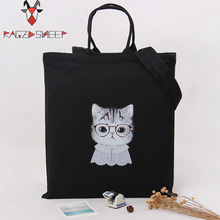 Raged Sheep Fashion Cotton Grocery Tote Shopping Bags Folding Cute Cats Printed Shopping Cart Eco Grab Bag(China)