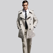 4XL leisure Men's trench coat size custom-tailor England man's double-breasted long pea coat trench slim fit classic trenchcoat