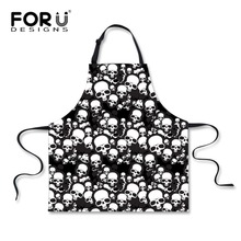 Funny Women Men Aprons Skull Prints Kitchen Cooking Woman Tablier Cuisine Adulte Aprons Home Cleaning Tool Accessories