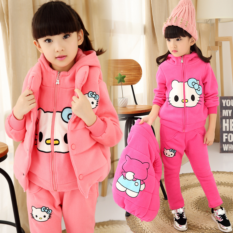 Winter suits for girls 2017 new children clothing 3-12 year-old girl warm wind casual cartoon three-piece thanksgiving outfits<br>