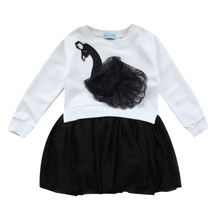 2017 New Brand Toddler Infant Child Baby Kids Girls Long Sleeve Swan Lace Tulle Dress Outfits Autumn Costume 3-7T(China)