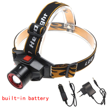 Q5 LED Built-in Battery Head Flashlight Zoomable 3 Modes Tactical Headlamp CE&RoHS Certificated Quality LED Headlight+Charger