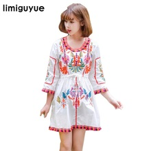 Women vintage boho dress Bohemian people flowers embroidery mini short dress hippie chic cotton summer dress runway design N359
