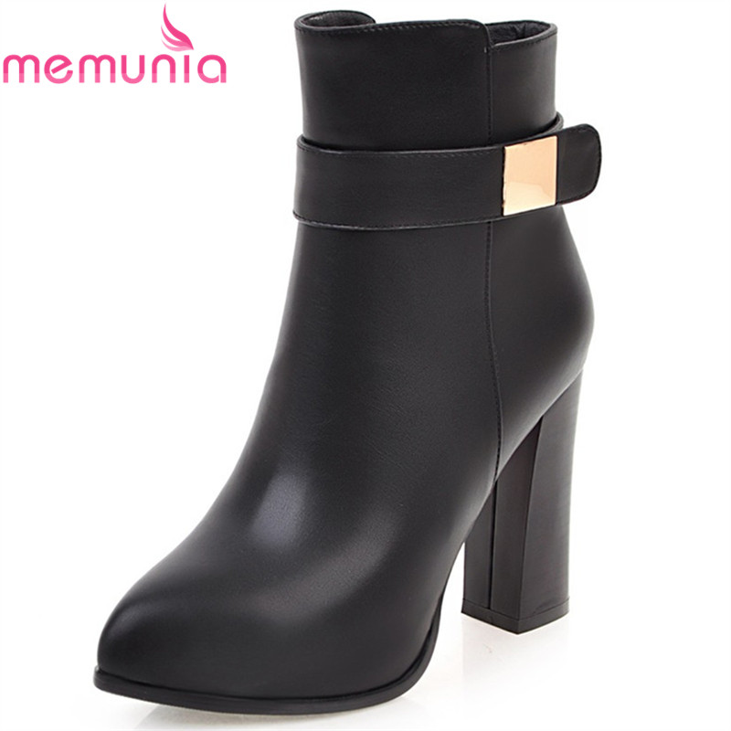 MEMUNIA black white gray women boots pointed toe zipper ladies boots square heel autumn ankle boots super high big size 34-43<br>