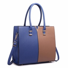 Miss Lulu Women Fashion Designer V Shape Patchwork PU Leather Handbag Shoulder Tote Cross Body Satchel Bag Navy And Brown LT1666