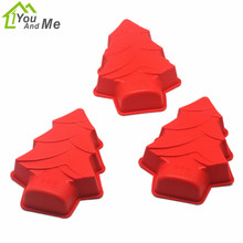 1pc DIY Red Christmas Tree Shape Silicone Cake Mold  Xmas Silicone Soap Molds Chocolate Cake Baking Tools Kitchen