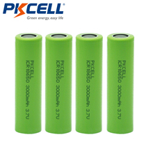 4Pcs*PKCELL 3000mAh Capacity 18650 Battery 3.7V Li-ion Rechargeable 18650 Battery(China)