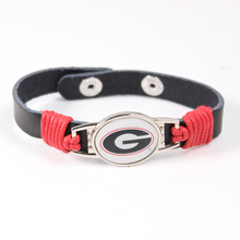 Georgia Bulldogs NCAA Team Logo Charms Leather Bracelet Mens Black Leather Bracelet  For Men Drop Shipping 6pcs/lot